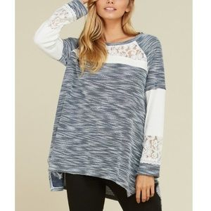 Tops - Coming Soon! Marled Lace Accent Tunic S-3XL